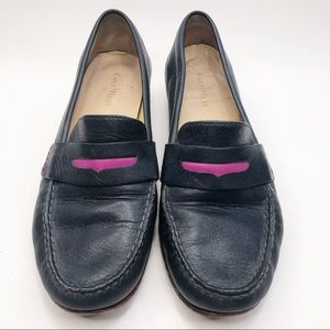 Cole Haan Navy Loafers with Pop of Pink